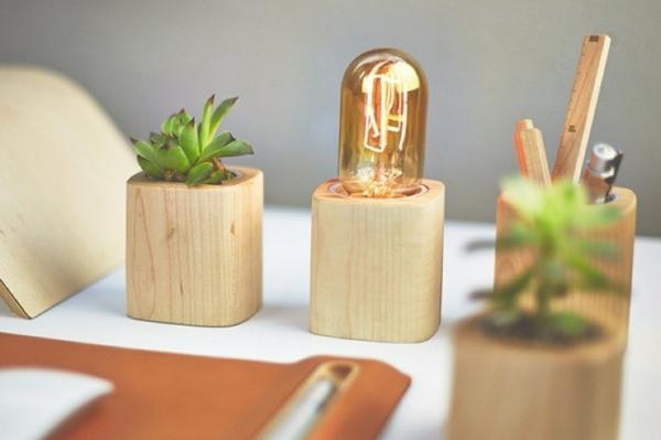 accessoire bureau bois pot fleurs stylo lampe