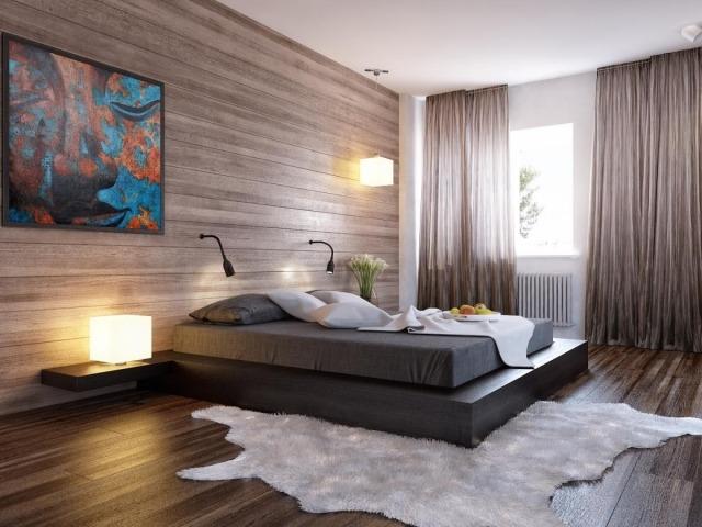 couleur-chambre-coucher-combinaisons-matelas-gris-rideaux-fins-marron-clair-revêtement-sol-mural-aspect-bois couleur chambre