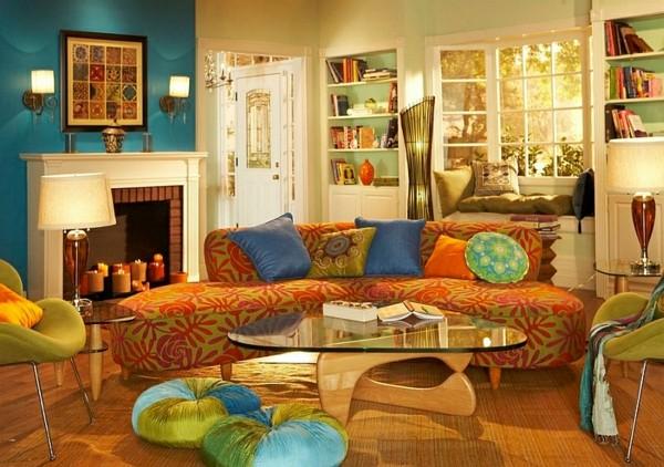 deco salon moderne orange bleu