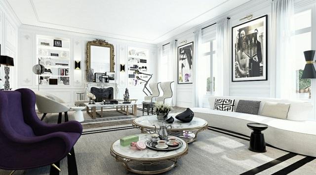 decoration salon moderne noir et blanc