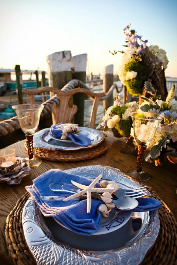 decoration coquillages peuvent etre mises partout assiettes la table de mariage decoration marine