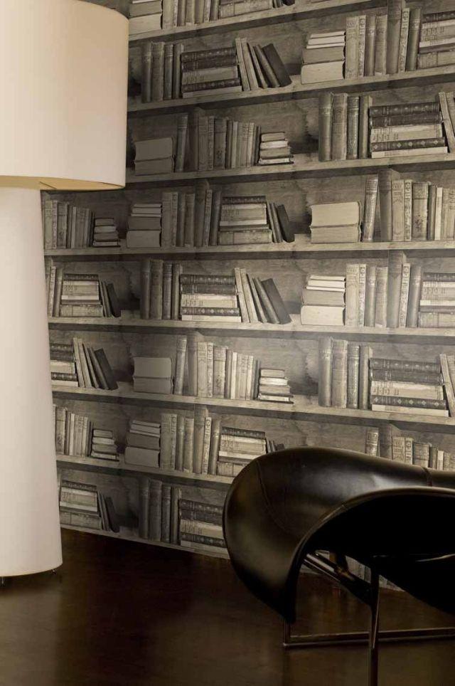 Papier Peint Trompe Lil Bibliothque Pour Lintrieur