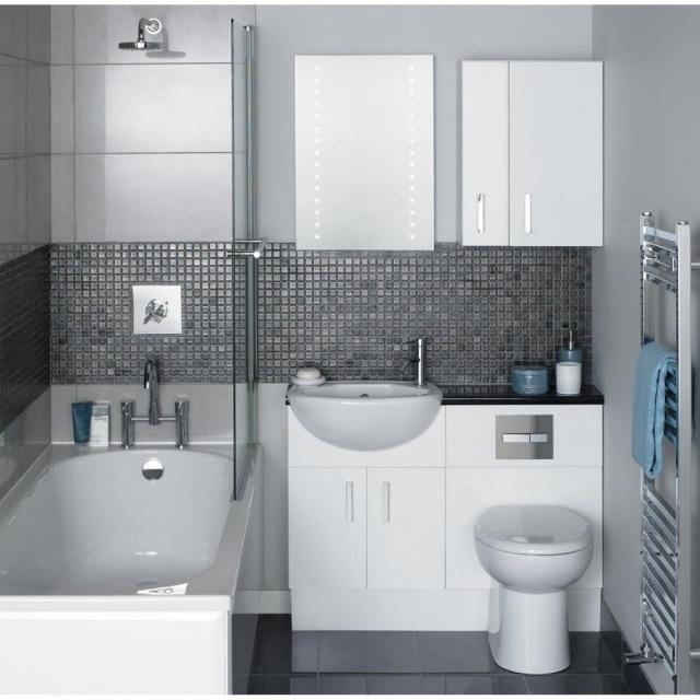 peinture-salle-bains-petite-mobilier-blanc-carrelage-gris peinture salle de bains