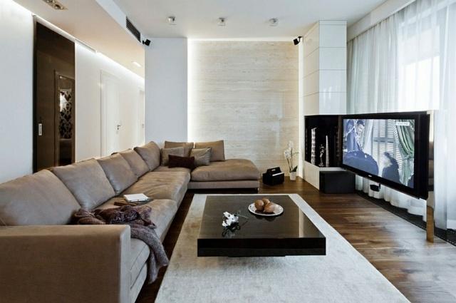 salon de luxe long canape design ecran plat