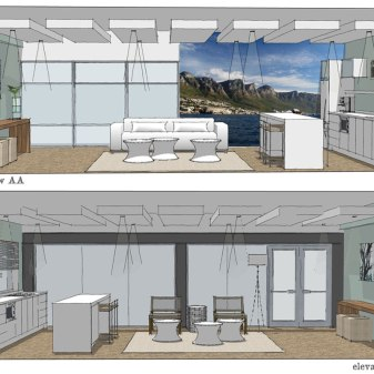 A Camps Bay property management company approached us to design the interior of their office break room / client waiting area.