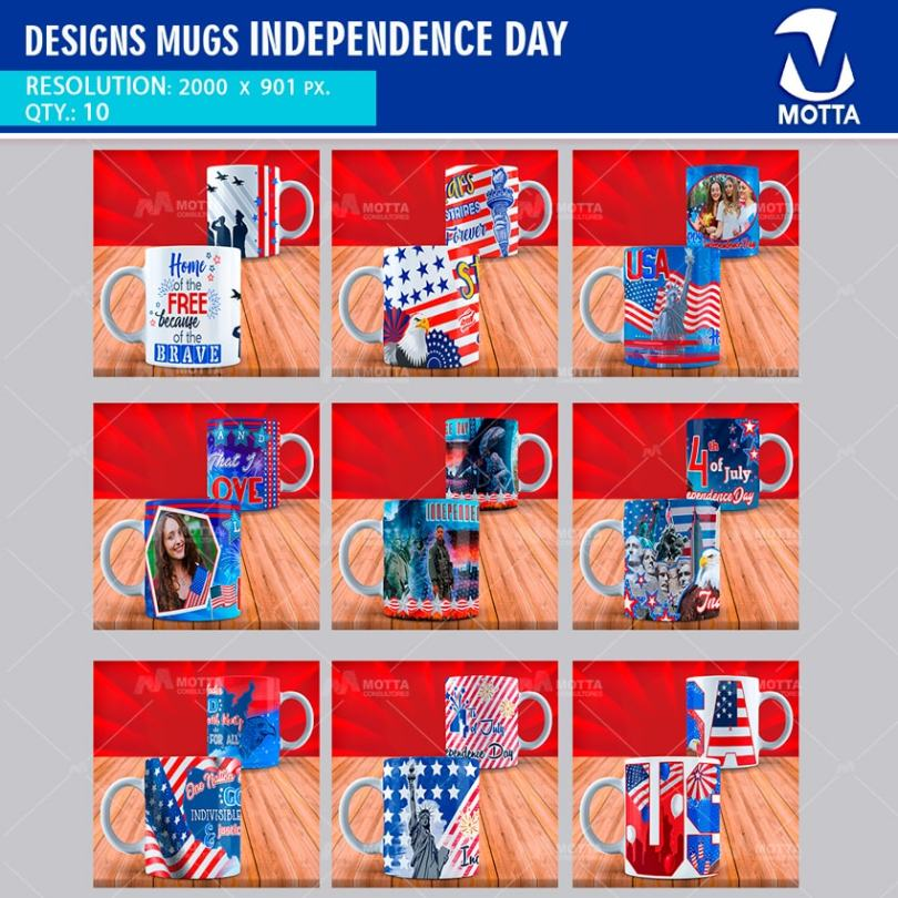 DESIGNS TO SUBLIME MUGS INDEPENDENCE DAY USA