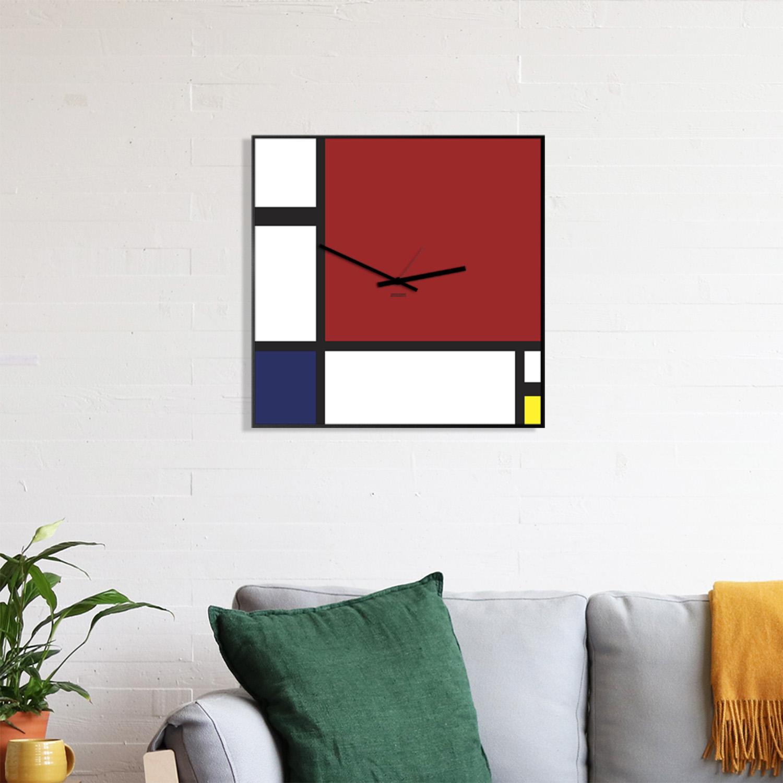Le particolari geometrie a mensola. Mondrian Orologio Da Parete Design Designobject