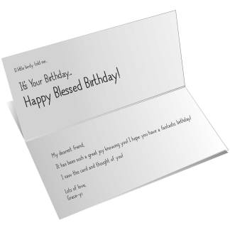 Card with custom text printed inside