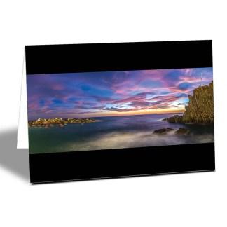 purple sunset at Riomaggiore, La Spezia, Cinque Terre, Italy