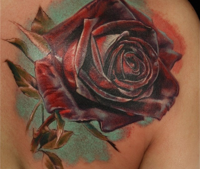 Laura Juan Realistic Rose Tattoo