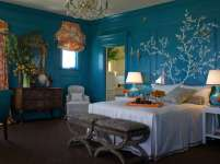 Blue Wall Design For Bedroom