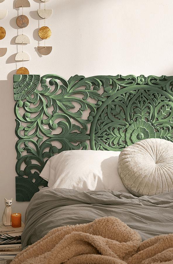 Sienna Carved Green Headboard Green Headboard Carved Headboard Headboard Designs