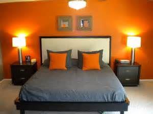 Orange And Gray Master Bedroom And Bath Orange Bedroom Walls Bedroom Orange Bedroom Interior
