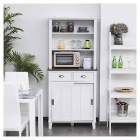 Homcom 66 75 H Freestanding Kitchen Pantry Cabinet Cupboard White Real Canadian Superstore