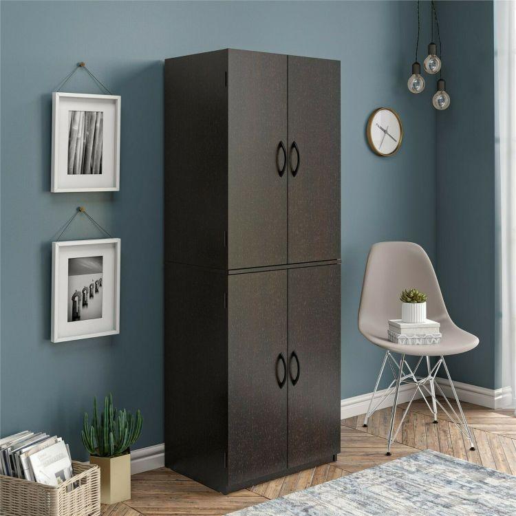 Tall Storage Cabinet Kitchen Pantry Cupboard Organizer Furniture Black White Oak Warerea