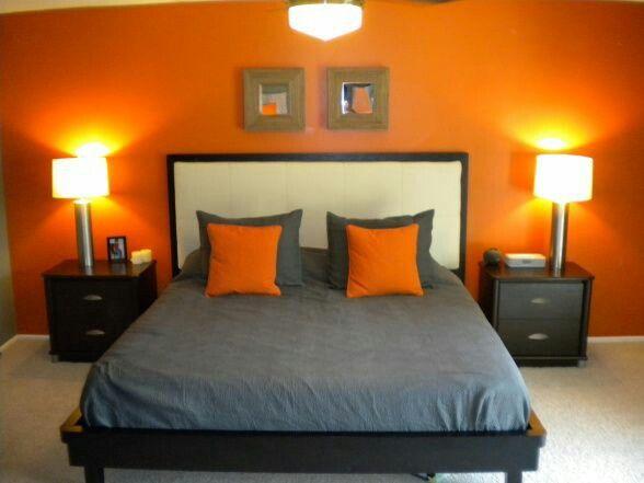 Copeland S Orange And Grey Bedroom Idea Orange Bedroom Walls Bedroom Orange Bedroom Interior