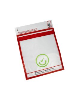 Transparent transportation bag with security stickers, measurements 395x360+90mm