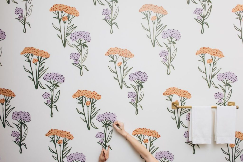 Floral painted wallpaper