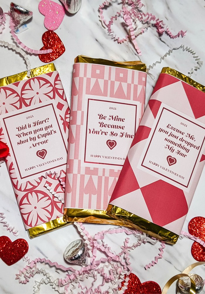 Free Printable: Valentine's Day Chocolate Bar Wrappers
