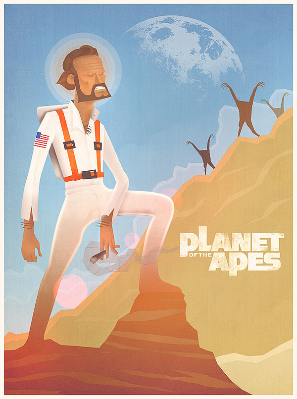 Planet of the Apes Cartoon Print Design Inspiration
