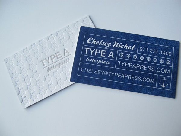 Type A Press Business Card Print Design Inspiration