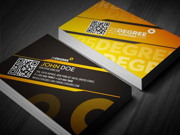 25 Degree Quick Response Business Card Print Design Inspiration