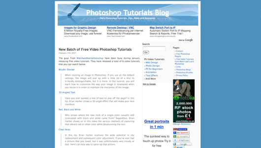 photoshop tutorials blog screenshot