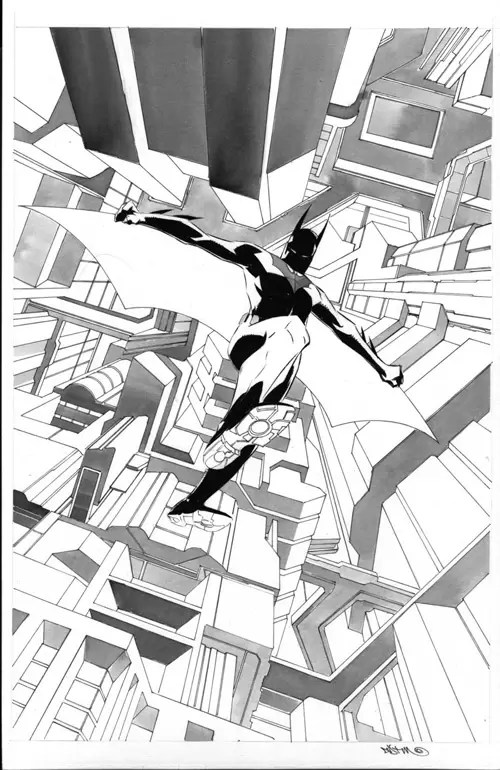 Batman Beyond 2 cover B+W by duss005