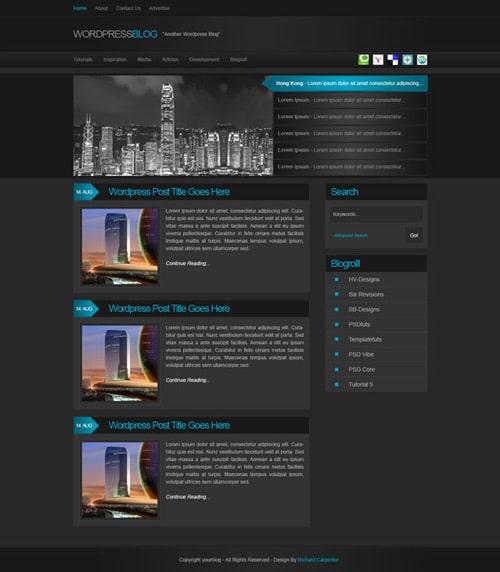 Make a Dark Blog Web Design Layout with Photoshop
