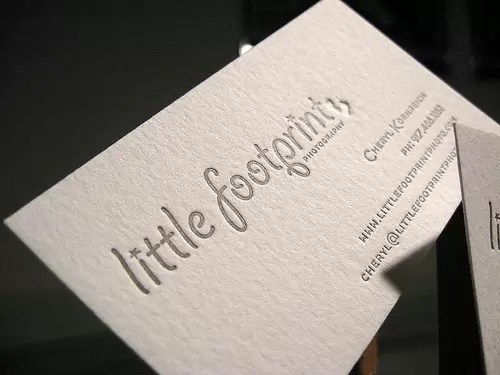 Lettepress Card with Blind Deboss for Little Footprint Photography