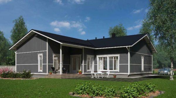 Проект одноэтажного Г-образного дома в финском стиле Вихти