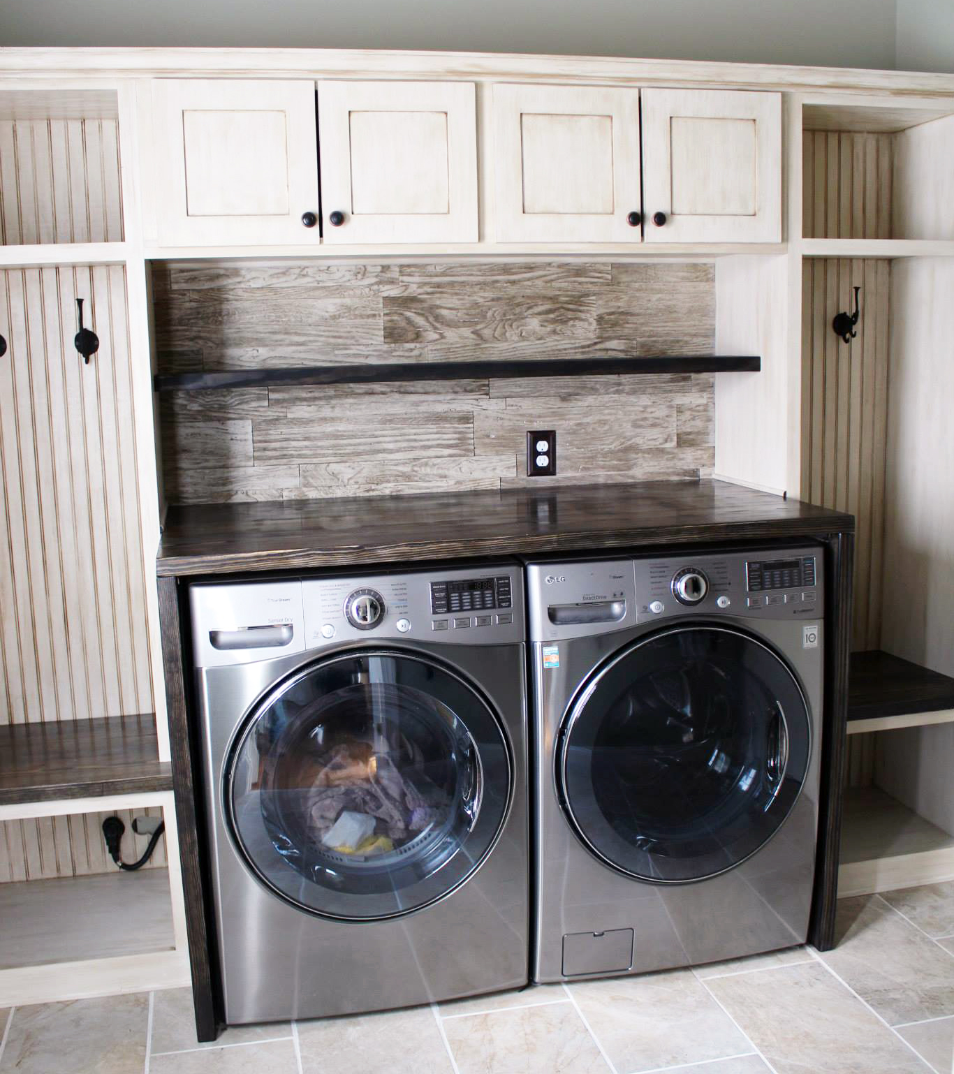 Glazed Antique White Laundry Room Cabinets | General ... on Laundry Cabinets  id=67467