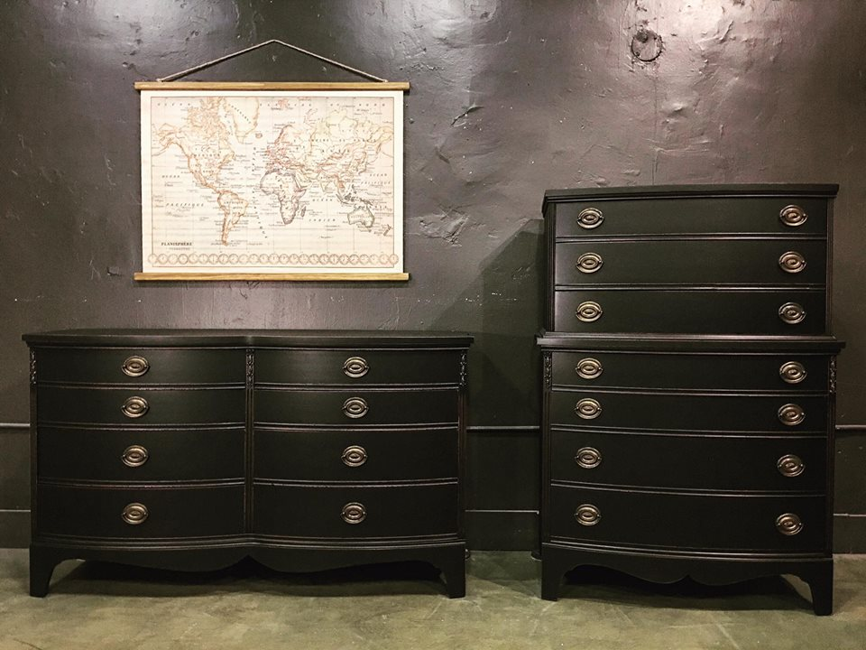 Elegant Dresser Set In Lamp Black Milk Paint General