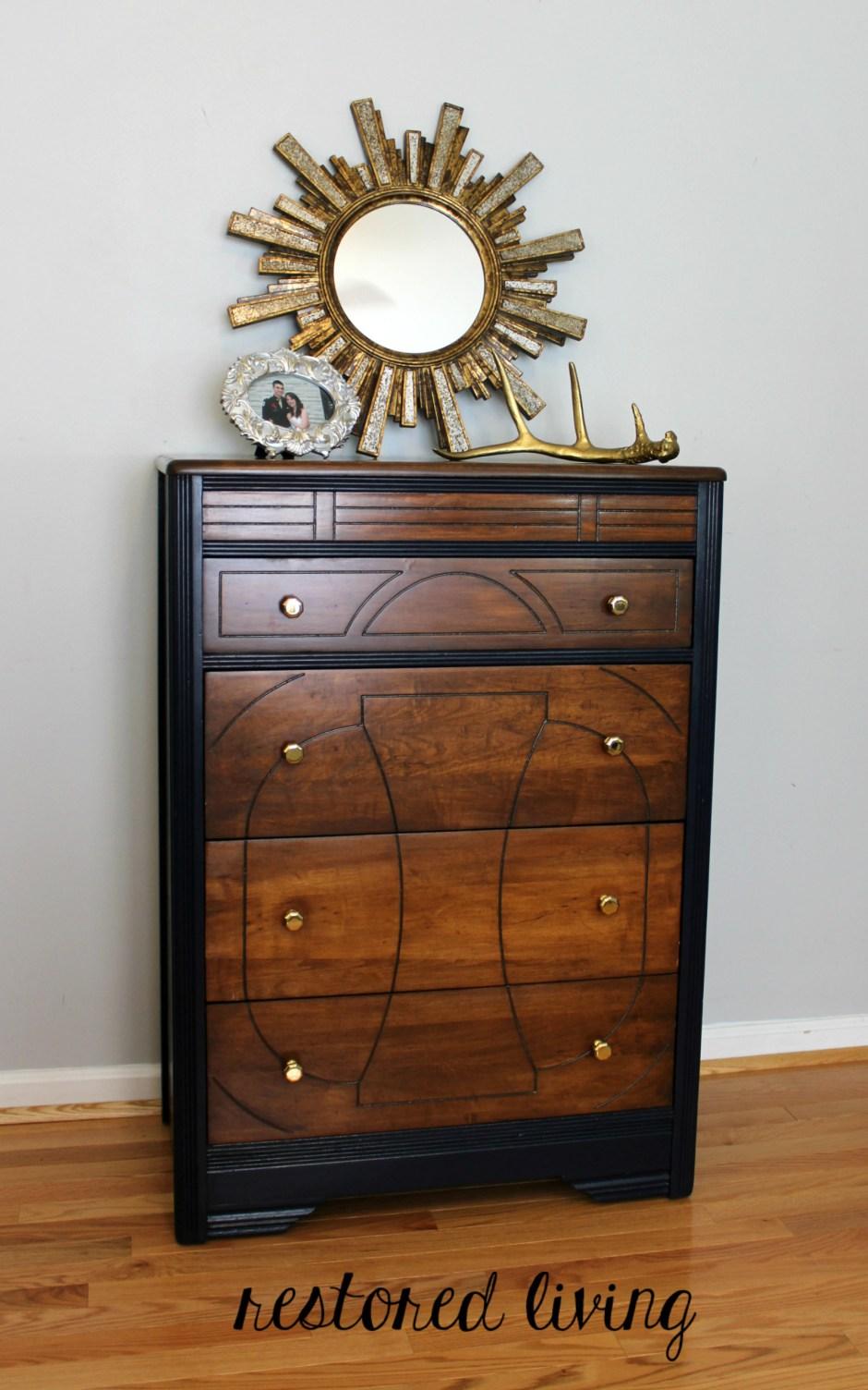 Art Deco Dresser In Antique Walnut Amp Coastal Blue