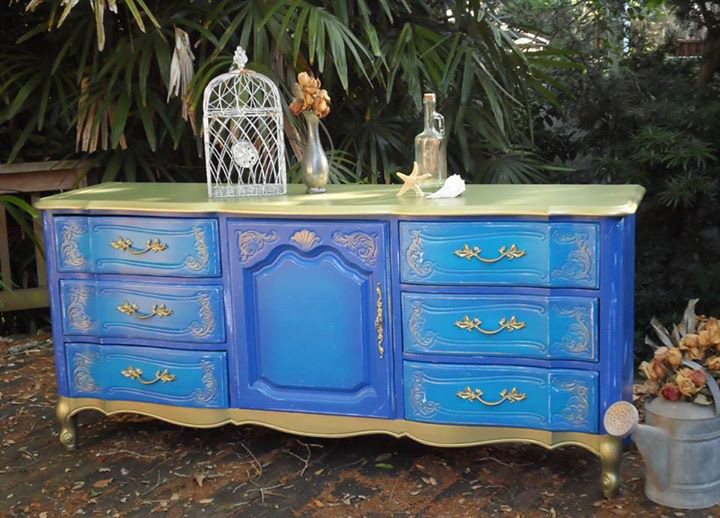 Whimsical Purple Blue And Gold Dresser General Finishes