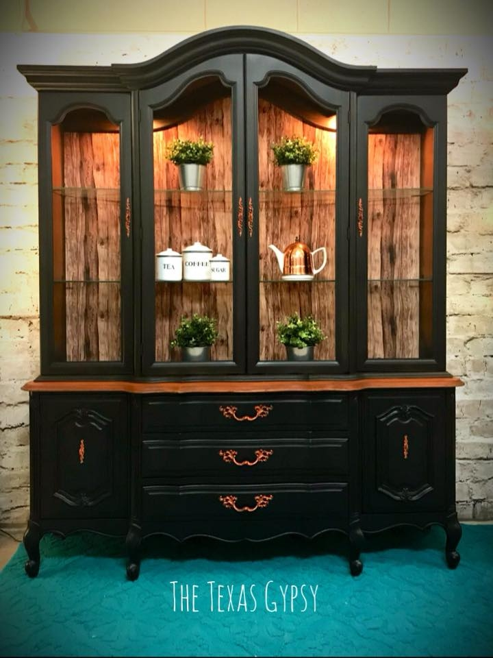 French Provincial China Cabinet In Lamp Black General