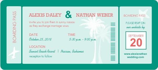 Turquoise Destination Wedding Invitation