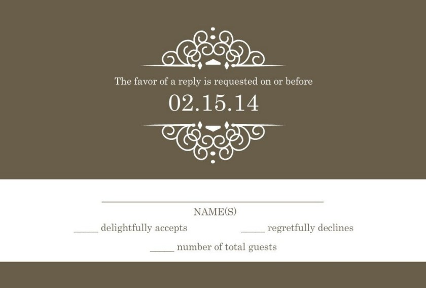 Wedding Rsvp Wording Olive Card With A White Intricate Frame By Weddingpaperie