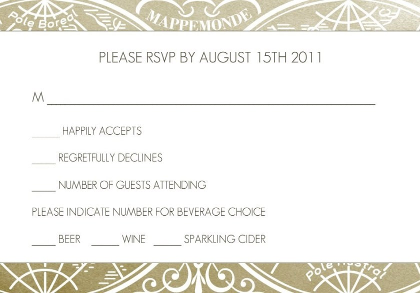 Gold Metallic Antique Style Wedding Rsvp By Weddingpaperie