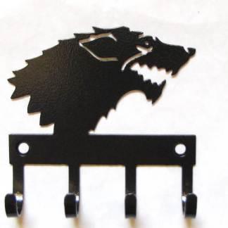 metal game of thrones wall hooks, wolf key hooks