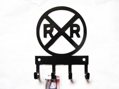 railroad crossing sign metal wall hooks, key holder