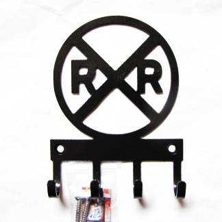 railroad crossing sign metal wall hooks, key holder