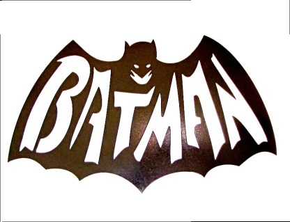 batman spelled out metal sign