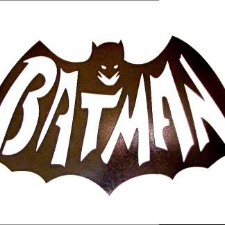 batman spelled out metal sign