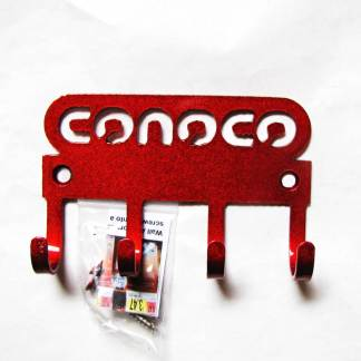 conoco logo metal wall hooks, key holder
