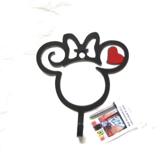 metal minnie mouse curly head wall hook