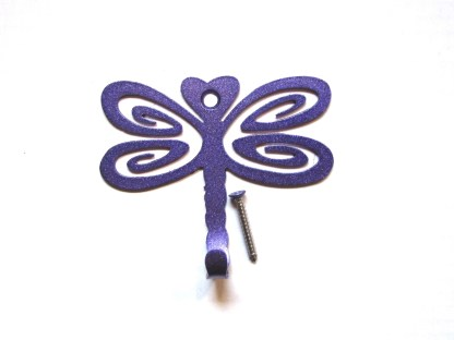 metal dragonfly wall hooks, dragonfly wall art purple