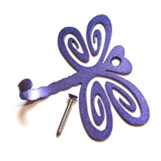 metal dragonfly wall hooks, dragonfly wall art purple