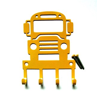 Metal School Bus Wall Hooks, Key Holder