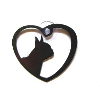 metal window art heart dog boston terrier